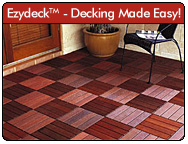 Ezydeck - the easy-to-use modular decking system. Ezydeck decking tiles are a perfect solution for giving your deck a facelift. They come in assorted styles and with their interlocking bases, makes installing them a snap! For more information, click here, or visit http://www.ezydeck.com